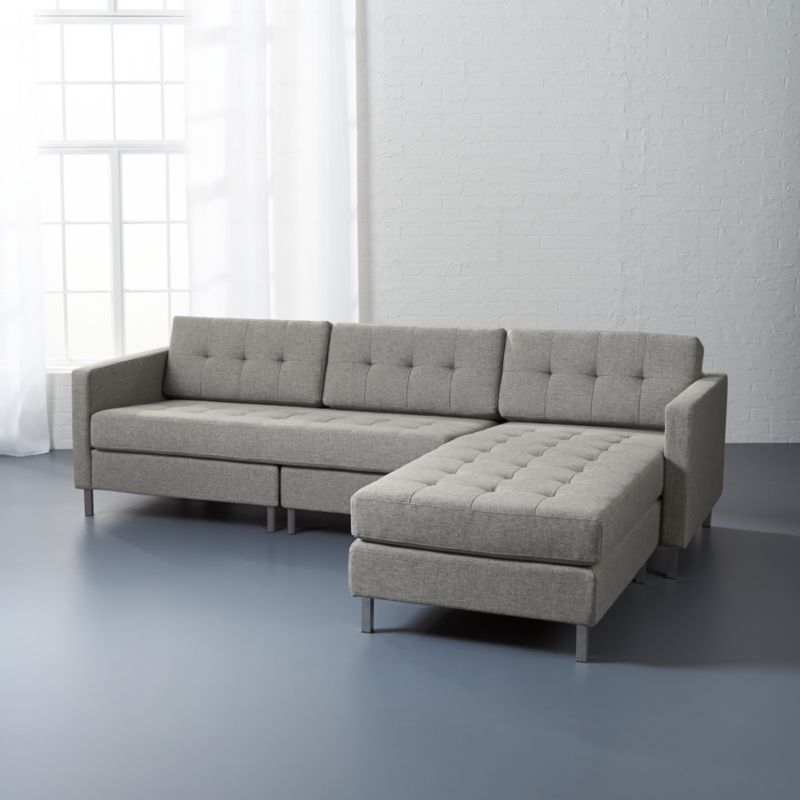 Modern Sectional Sofas Grey: Ditto II Grey Sectional Sofa Taylor: Grey