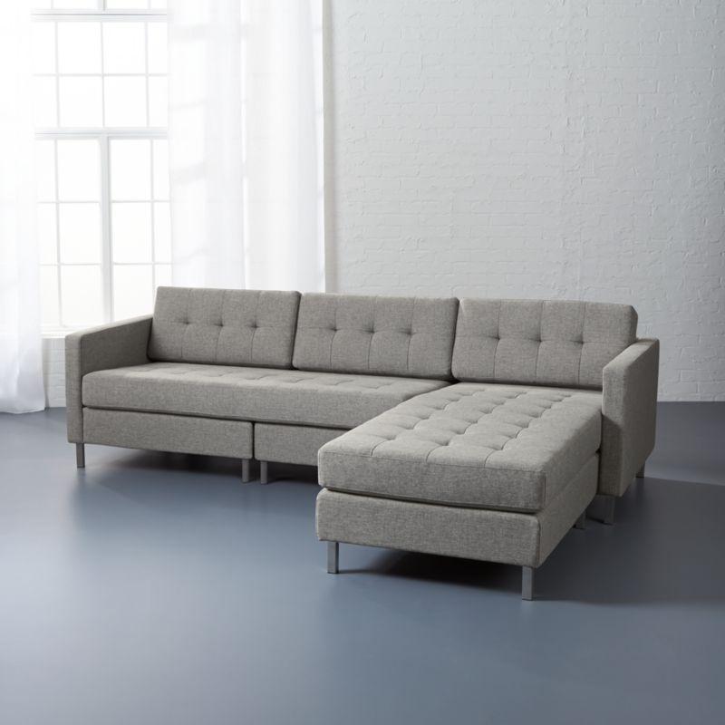 Ditto Ii Grey Sectional Sofa Taylor Grey Cb2