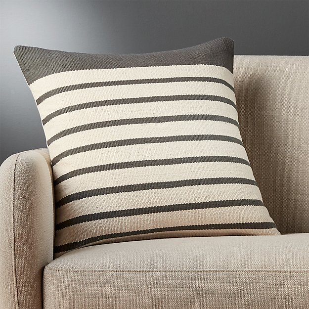 "20"" division grey pillow with feather-down insert"
