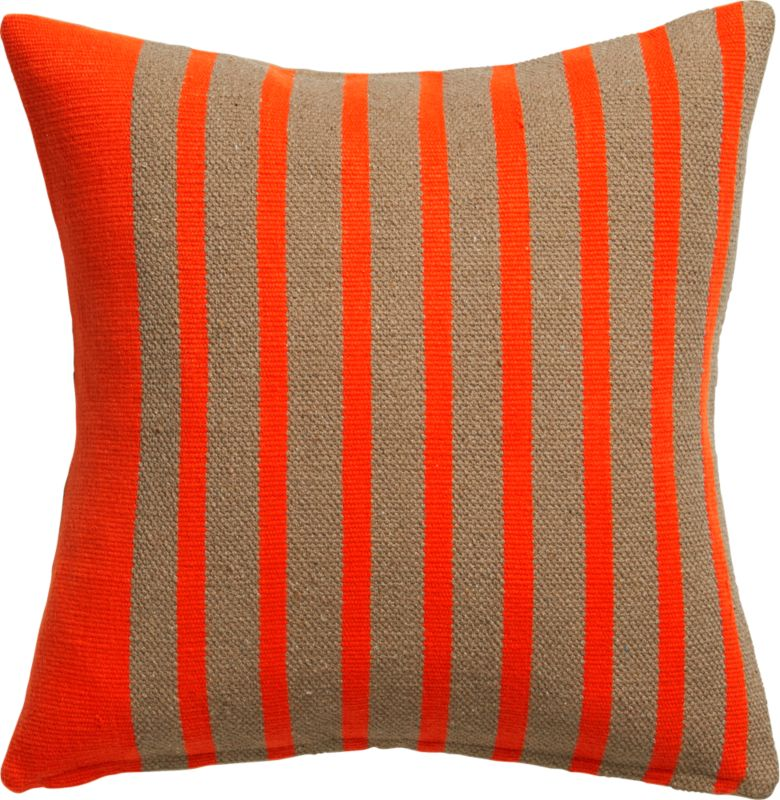 """division red orange 20"""" pillow with feather insert"""