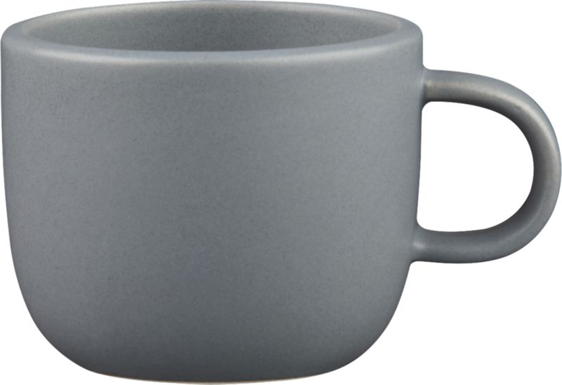 """<span class=""""copyHeader"""">grey scale.</span> Handmade in durable stoneware, matte grey mug is sized to sip the perfect double shot...or cuppa joe, before it gets cold. Neat design stacks to store.<br /><br /><NEWTAG/><ul><li>Handmade</li><li>Stoneware</li><li>Color variations will occur due to glazing process</li><li>Stacks to store</li><li>Dishwasher- and microwave-safe</li></ul><br />"""