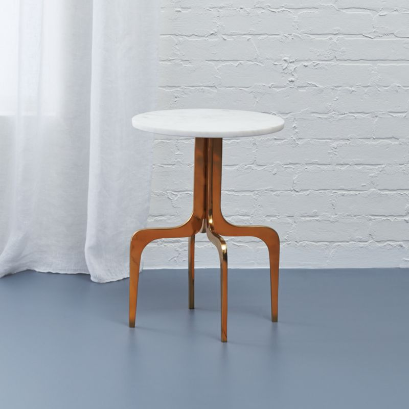 dorset round marble side table : CB2
