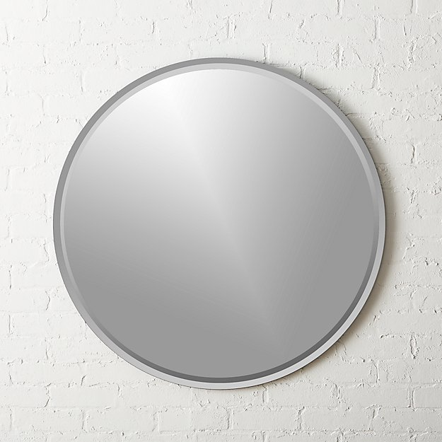 Round Double Bevel Wall Mirror 36""