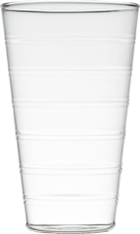 "<span class=""copyHeader"">clear ringer.</span> Embossed rings circle transparent texture and pattern around clean tapered form, crafted of super-durable beaker glass. Space-saving design stacks to store.<br /><br /><NEWTAG/><ul><li>Borosilicate (""beaker"") glass</li><li>Hand wash</li></ul>"