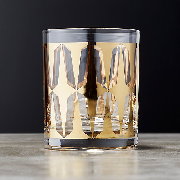 Drake Metallic Gold Double Old Fashioned Glass