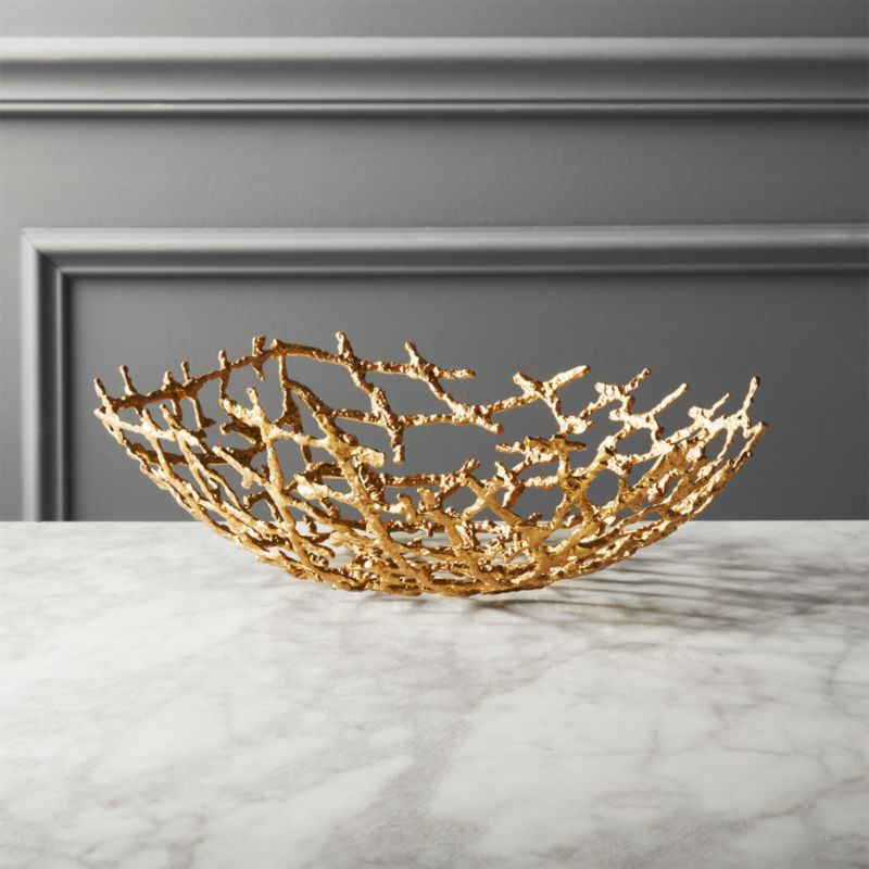 Drizzle Decorative Brass Bowl by Crate&Barrel