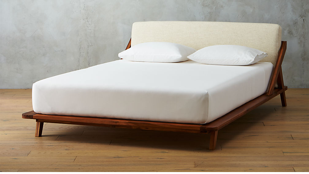 drommen acacia wood bed cb2 - Full White Bed Frame