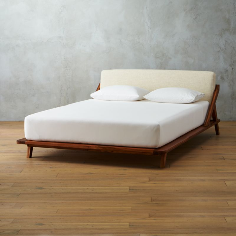 Drommen Acacia Wood Full Bed Cb2