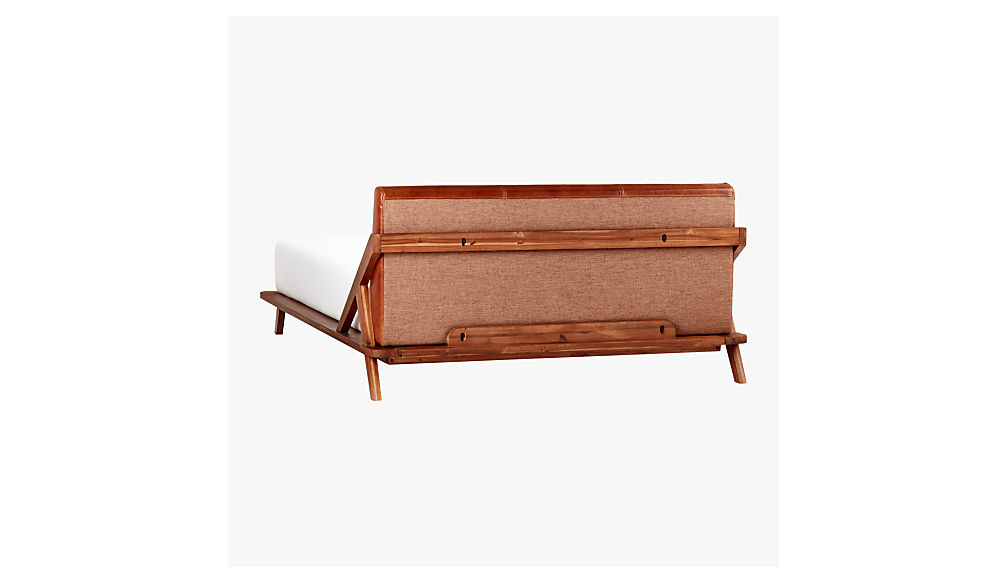 drommen acacia king bed with leather headboard