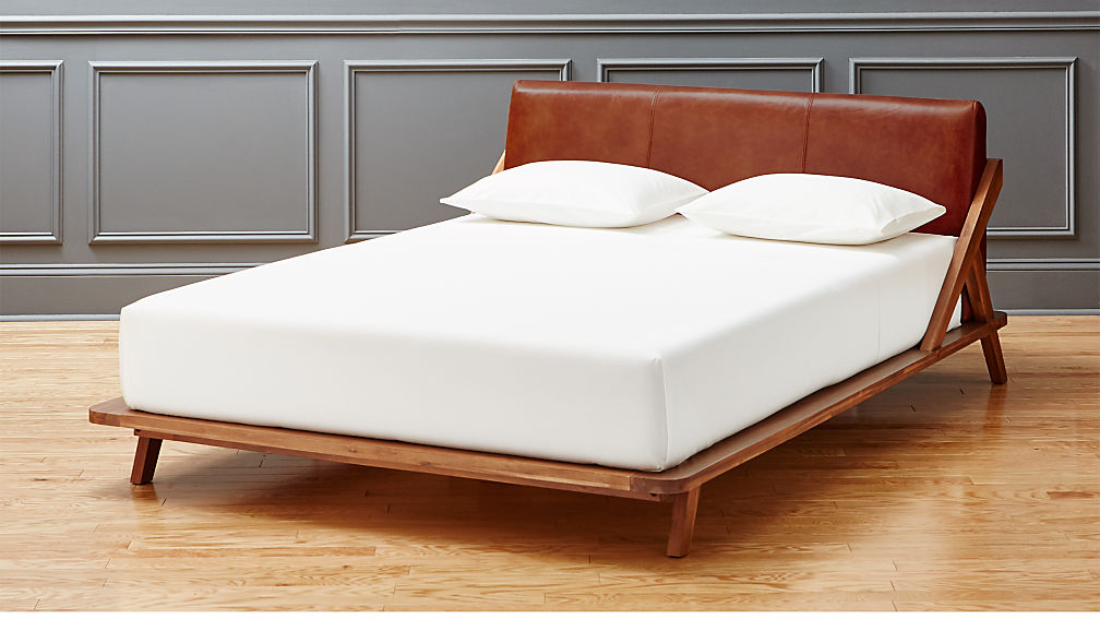 Drommen Acacia Bed With Leather Headboard | CB2