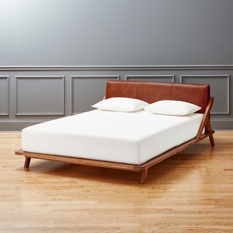 drommen acacia queen bed with leather headboard. leather bedroom furniture   CB2
