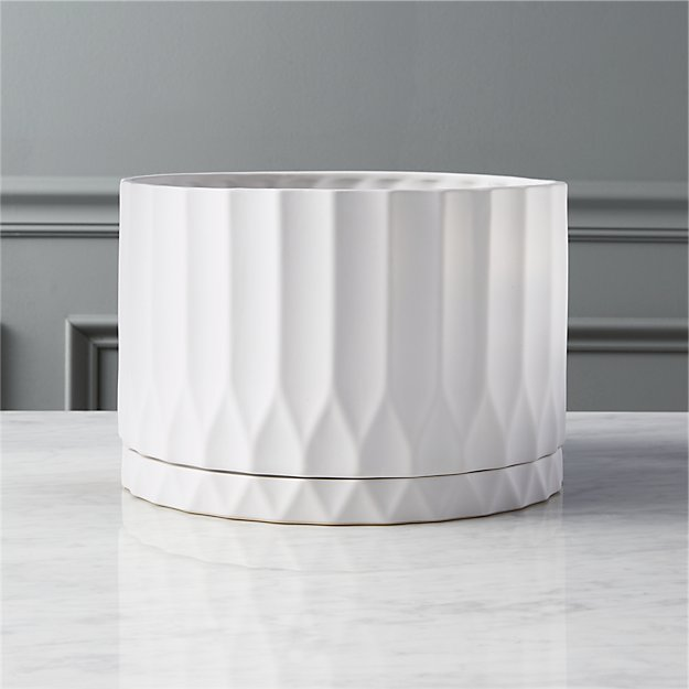Drum White Faceted Planter Reviews Cb2