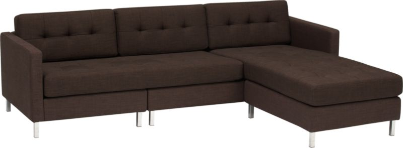 dual chocolate tufted sectional