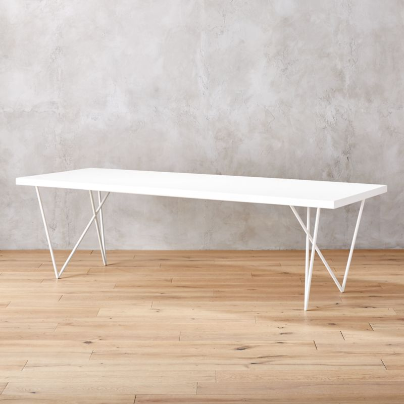 Dylan 36 x104  White Dining Table. white lacquer furniture   CB2