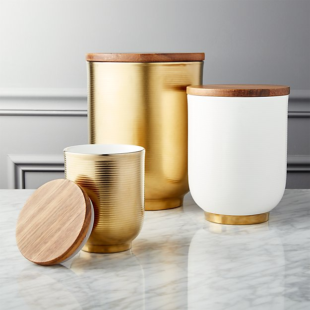 Echo White and Gold Canisters Set of 3