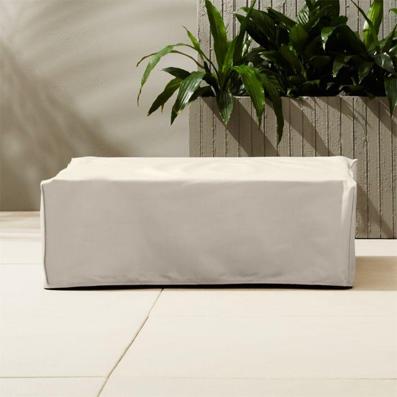 Elba waterproof ottoman coffee table cover cb2 - Pouf piscine waterproof ...