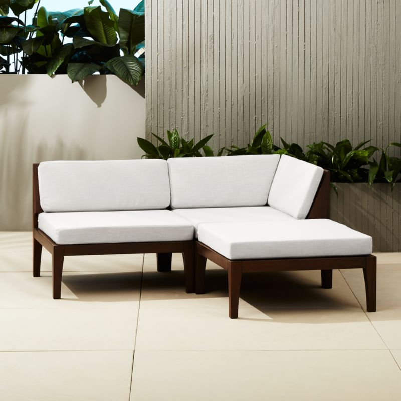 Elba Outdoor Mahogany Sectional Sofa | CB2