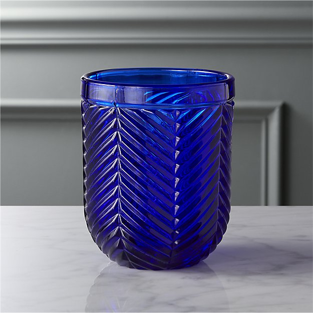 eloise cobalt blue double old-fashioned glass