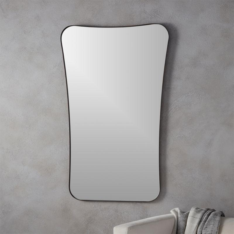 Gray Wall Mirror elroy small walnut wall mirror | cb2