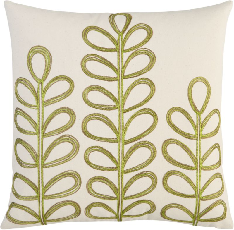 "embroidered botanical 18"" pillow"