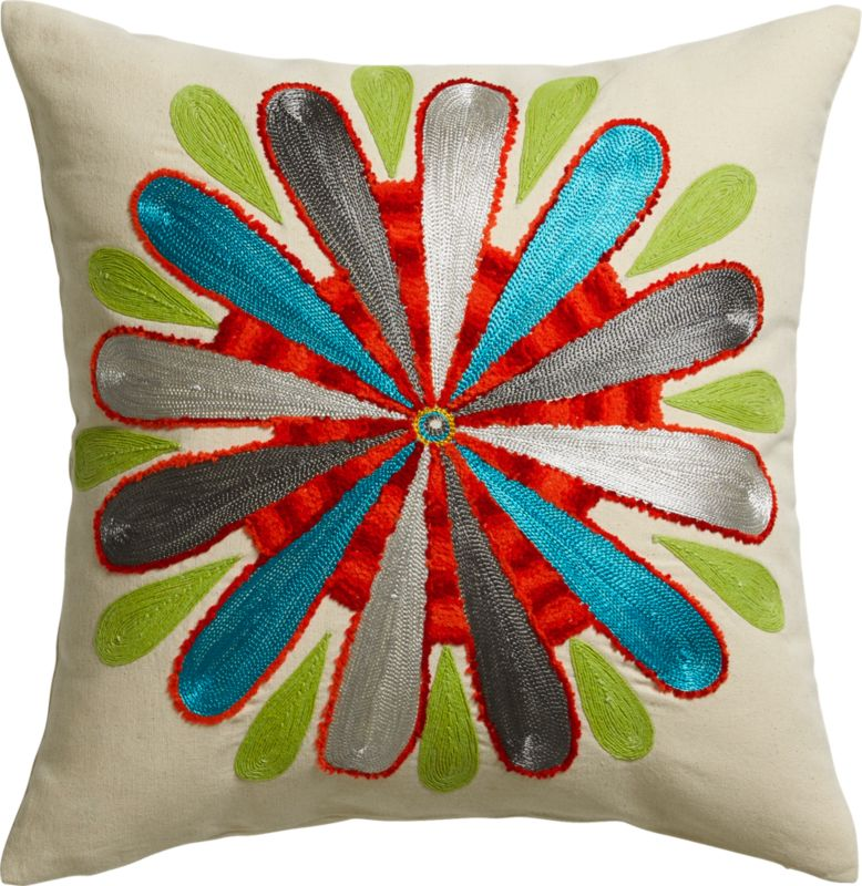 "embroidered bold flower 18"" pillow with feather-down insert"