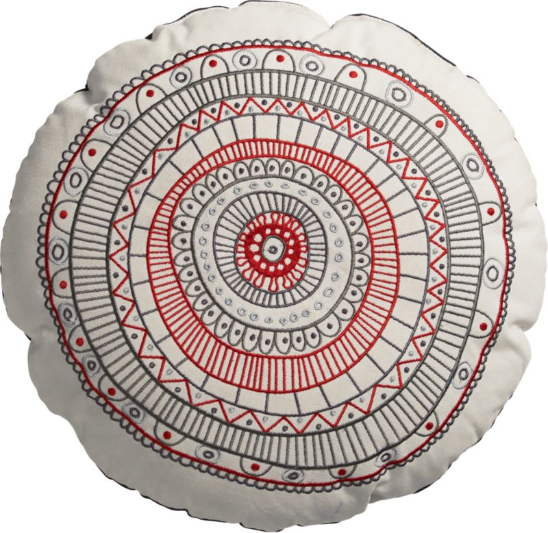 embroidered circles pillow