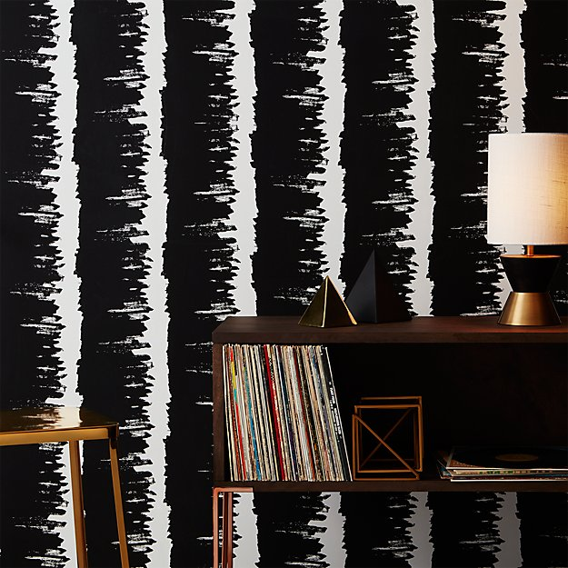 emmett-black-and-white-stripe-traditional-paste-wallpaper by crate&barrel
