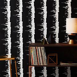 emmett black and white stripe traditional paste wallpaper