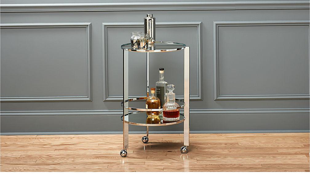 ernest chrome bar cart reviews cb2. Black Bedroom Furniture Sets. Home Design Ideas
