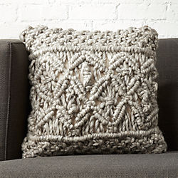 """16"""" Esther Grey Knit Pillow with Down-Alternative Insert"""