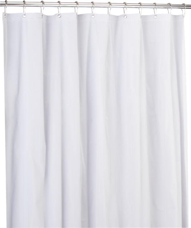 peva white shower curtain liner cb2. Black Bedroom Furniture Sets. Home Design Ideas