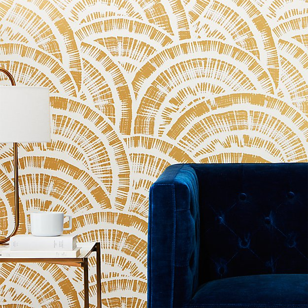 expressionist rounds gold and white wallpaper | CB2