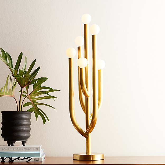 Cacti Glow Brass Table Lamp in table lamps + Reviews | CB2