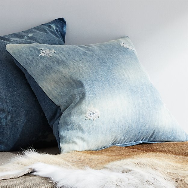 "23"" Cloud Distressed Pillow with Feather-Down Insert"
