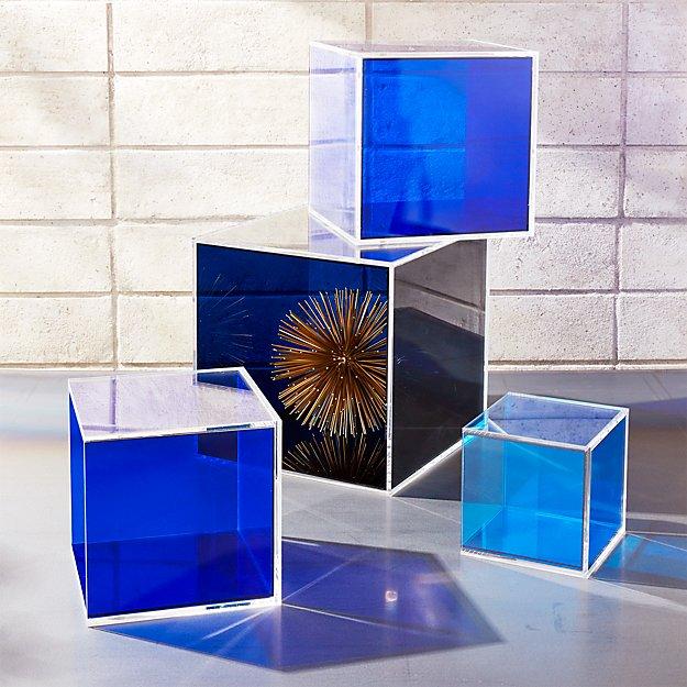 4-Piece Deep Blue Acrylic Storage Box Set