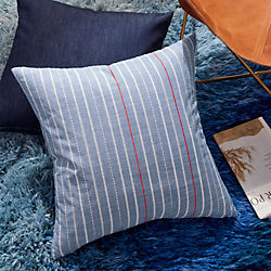 "23"" Embroidered Light Denim Pillow with Down-Alternative Insert"
