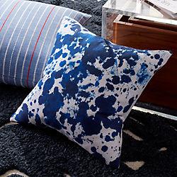 """18"""" Indigo Ink Pillow with Down-Alternative Insert"""