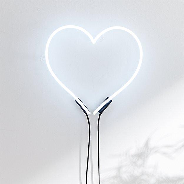 Loves White Neon Heart Light Reviews Cb2
