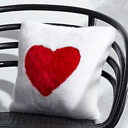 "16"" Loves You Faux Fur Pillow with Feather-Down Insert"
