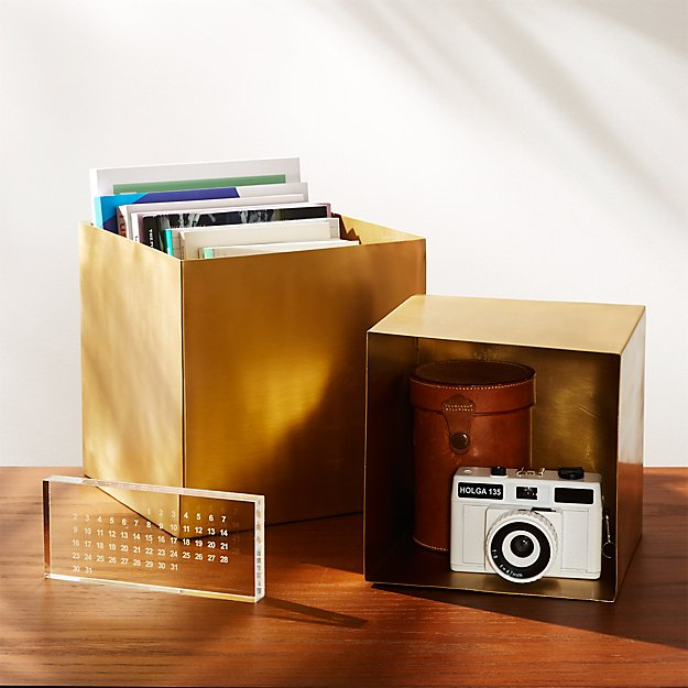 2-Piece Large Solid Brass Studio Storage Box Set