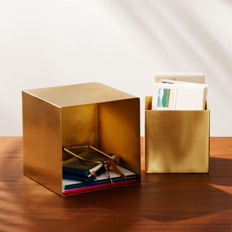 2 Piece Small Solid Brass Studio Storage Box Set