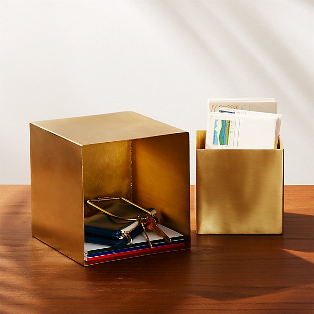 2-Piece Small Solid Brass Studio Storage Box Set