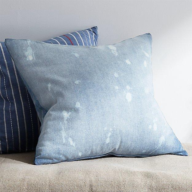 "23"" Splatter Denim Pillow with Down-Alternative Insert"