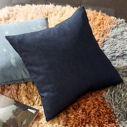 "23"" Whisker Blue Denim Pillow with Feather-Down Insert"