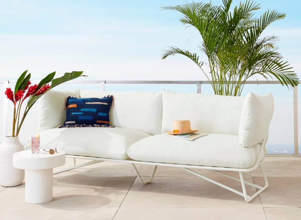 Pool Party White Outdoor Sofa + Reviews | CB2