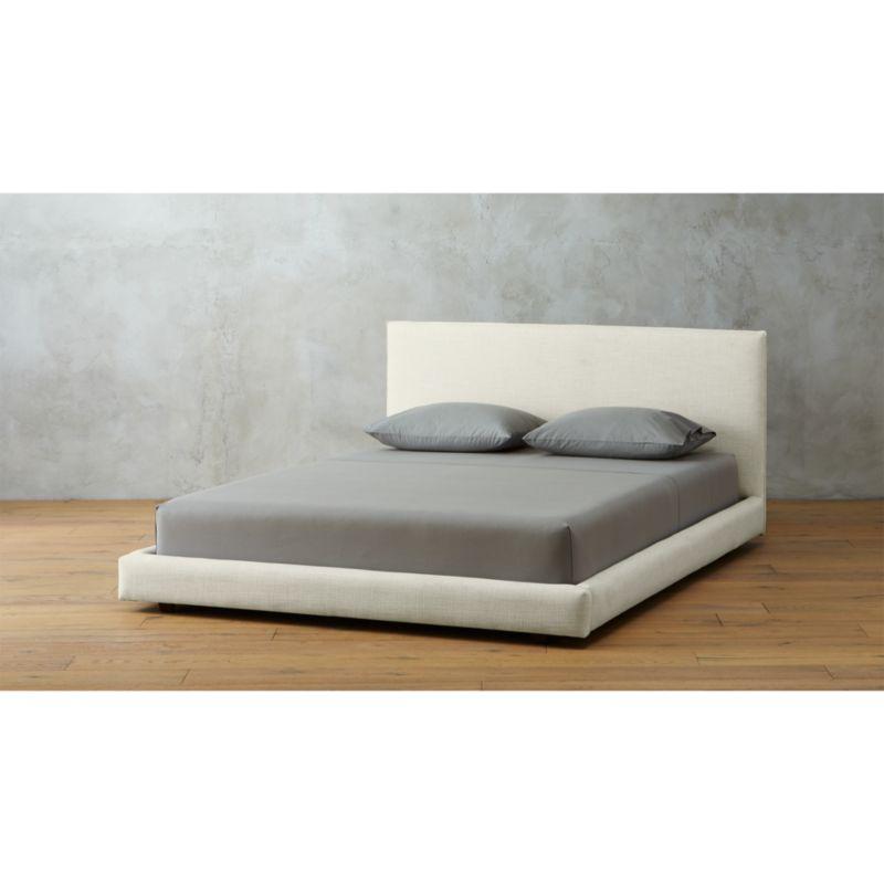 facade white upholstered bed CB2