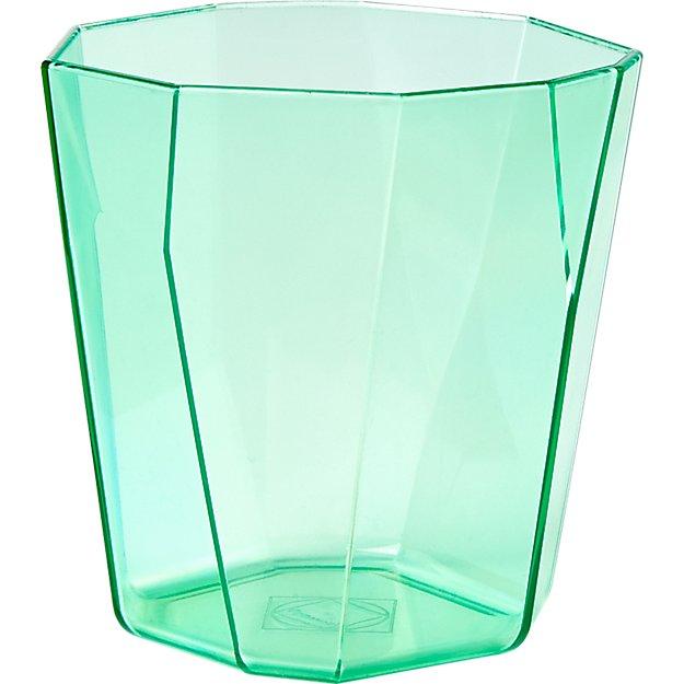 facet aqua acrylic double old-fashioned glass