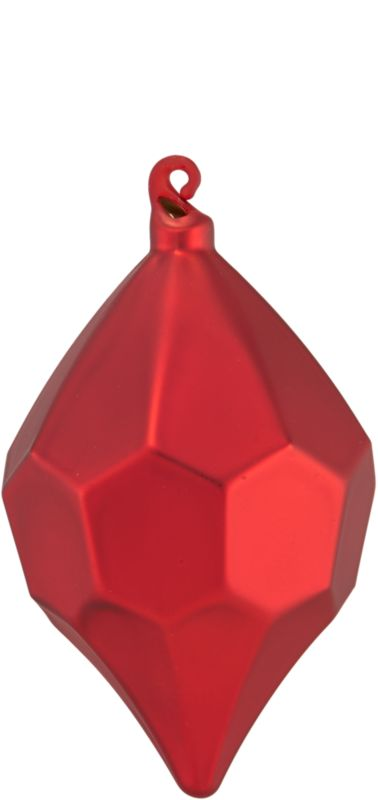 "<span class=""copyHeader"">rare gem.</span> Modern glass teardrop is festive from every faceted angle in matte red.<br /><br /><NEWTAG/><ul><li>Glass</li><li>Painted matte red</li></ul>"