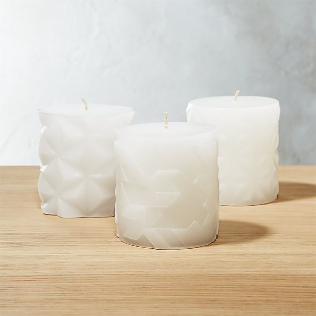 3-Piece Faceted Pillar Candle Set