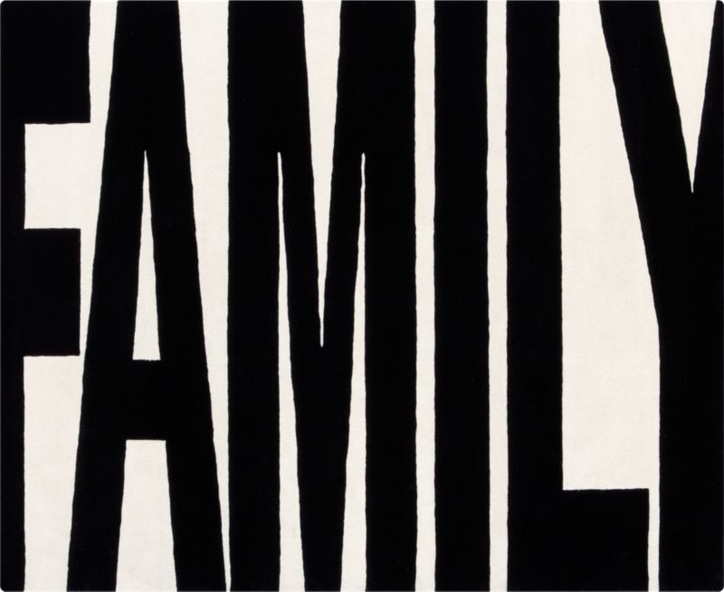 family black and white rug 8'x10'
